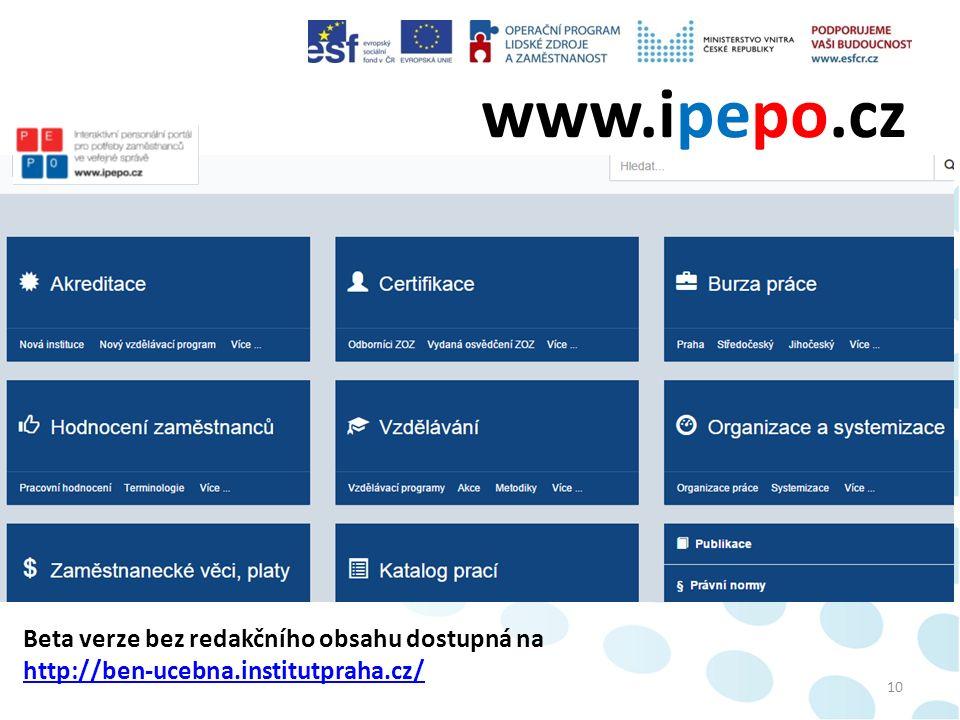 www.ipepo.cz 10 Beta verze bez redakčního obsahu dostupná na http://ben-ucebna.institutpraha.cz/ http://ben-ucebna.institutpraha.cz/