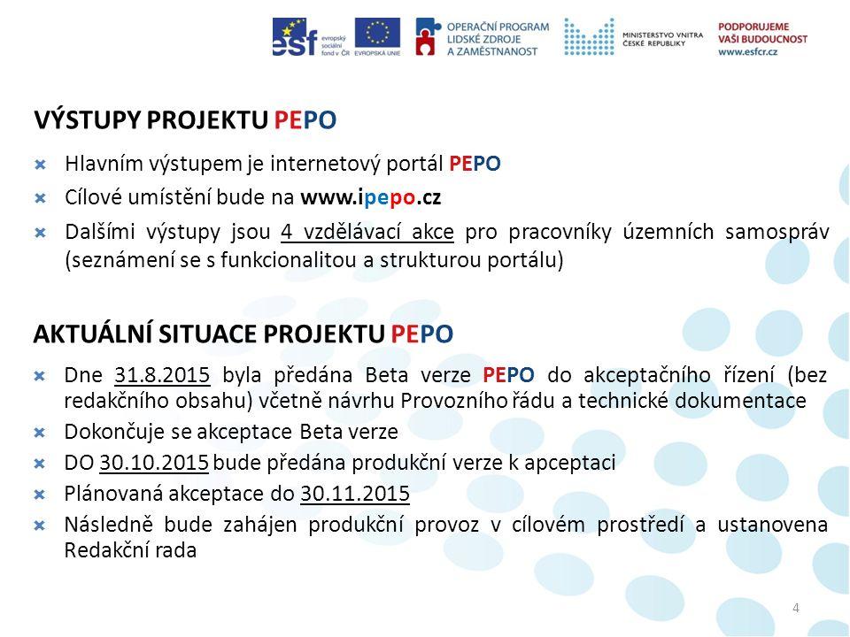 VÝSTUPY PROJEKTU PEPO  Hlavním výstupem je internetový portál PEPO  Cílové umístění bude na www.ipepo.cz  Dalšími výstupy jsou 4 vzdělávací akce pro pracovníky územních samospráv (seznámení se s funkcionalitou a strukturou portálu) 4 AKTUÁLNÍ SITUACE PROJEKTU PEPO  Dne 31.8.2015 byla předána Beta verze PEPO do akceptačního řízení (bez redakčního obsahu) včetně návrhu Provozního řádu a technické dokumentace  Dokončuje se akceptace Beta verze  DO 30.10.2015 bude předána produkční verze k apceptaci  Plánovaná akceptace do 30.11.2015  Následně bude zahájen produkční provoz v cílovém prostředí a ustanovena Redakční rada