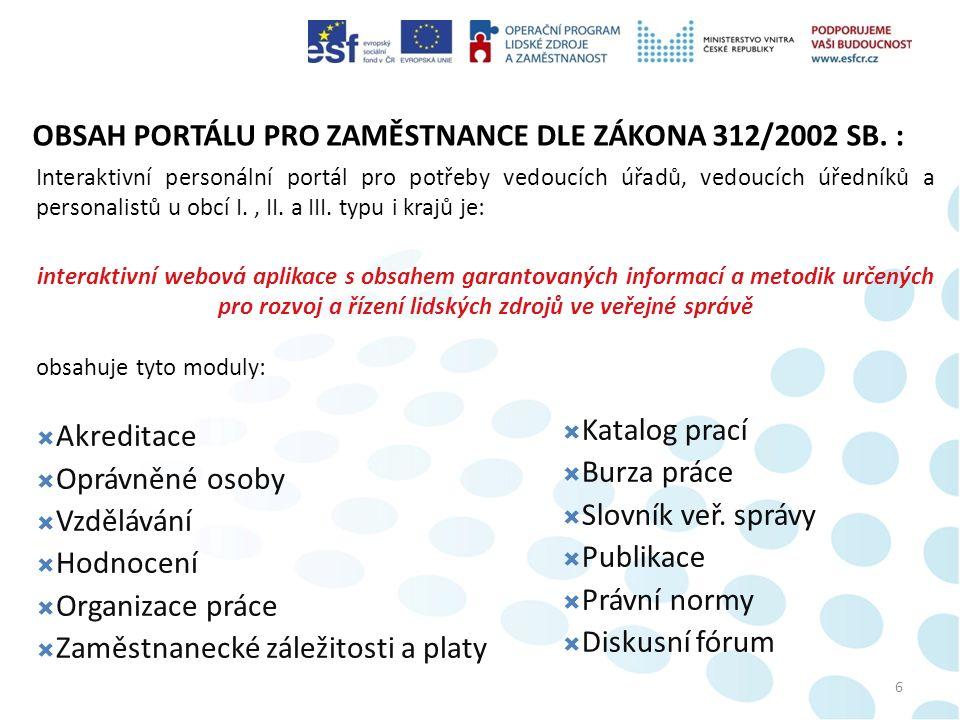 OBSAH PORTÁLU PRO ZAMĚSTNANCE DLE ZÁKONA 312/2002 SB.