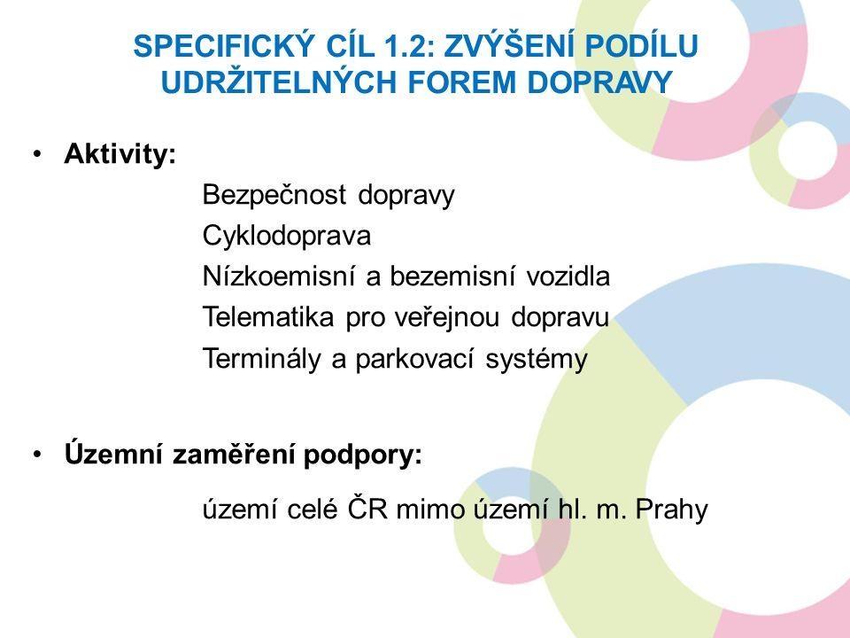 SPECIFICKÝ CÍL 1.2: ZVÝŠENÍ PODÍLU UDRŽITELNÝCH FOREM DOPRAVY Aktivity: Bezpečnost dopravy Cyklodoprava Nízkoemisní a bezemisní vozidla Telematika pro