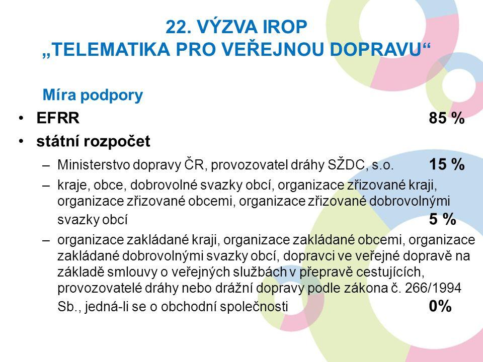 Míra podpory EFRR85 % státní rozpočet –Ministerstvo dopravy ČR, provozovatel dráhy SŽDC, s.o. 15 % –kraje, obce, dobrovolné svazky obcí, organizace zř