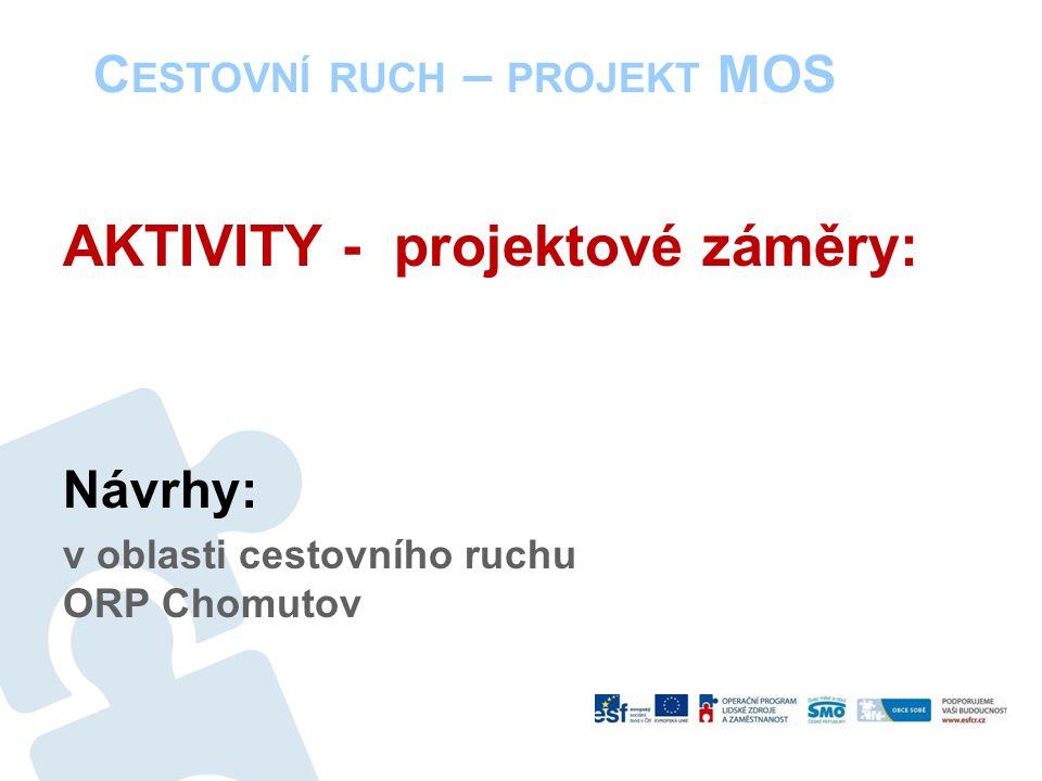 C ESTOVNÍ RUCH – PROJEKT MOS AKTIVITY - projektové záměry: Návrhy: v oblasti cestovního ruchu ORP Chomutov