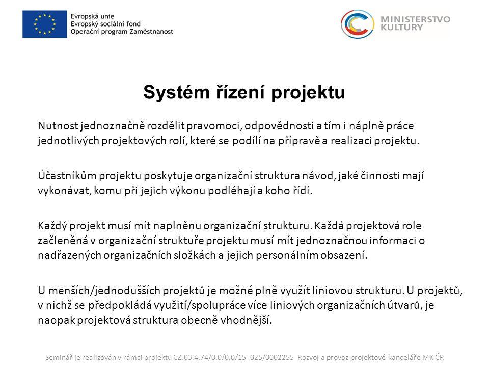 Systém řízení projektu Nutnost jednoznačně rozdělit pravomoci, odpovědnosti a tím i náplně práce jednotlivých projektových rolí, které se podílí na přípravě a realizaci projektu.