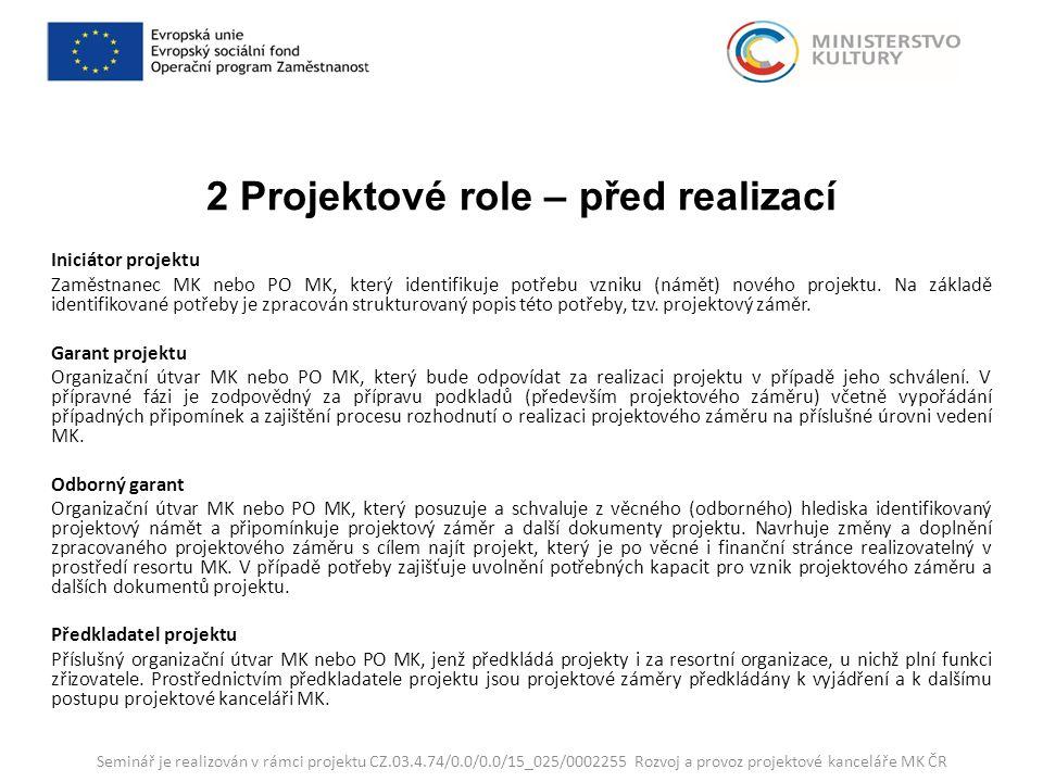 2 Projektové role – před realizací Iniciátor projektu Zaměstnanec MK nebo PO MK, který identifikuje potřebu vzniku (námět) nového projektu.