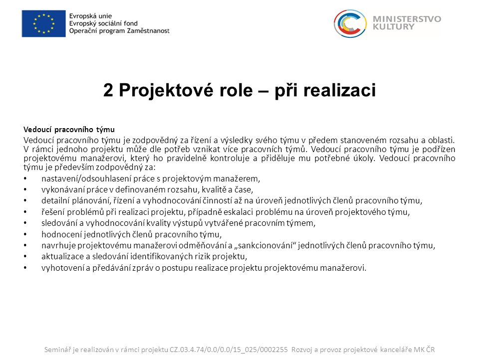 2 Projektové role – při realizaci Vedoucí pracovního týmu Vedoucí pracovního týmu je zodpovědný za řízení a výsledky svého týmu v předem stanoveném rozsahu a oblasti.