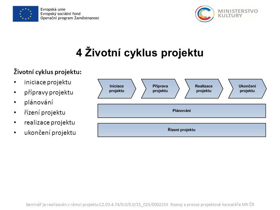 4 Životní cyklus projektu Životní cyklus projektu: iniciace projektu přípravy projektu plánování řízení projektu realizace projektu ukončení projektu Seminář je realizován v rámci projektu CZ.03.4.74/0.0/0.0/15_025/0002255 Rozvoj a provoz projektové kanceláře MK ČR