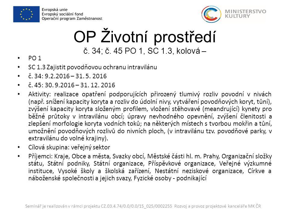 OP Životní prostředí č. 34; č.