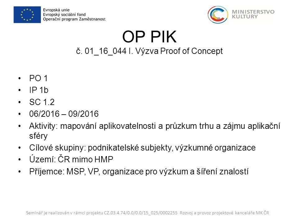 OP PIK č. 01_16_044 I. Výzva Proof of Concept PO 1 IP 1b SC 1.2 06/2016 – 09/2016 Aktivity: mapování aplikovatelnosti a průzkum trhu a zájmu aplikační