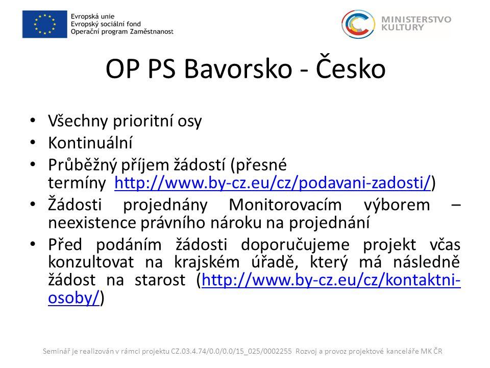 OP PS Bavorsko - Česko Všechny prioritní osy Kontinuální Průběžný příjem žádostí (přesné termíny http://www.by-cz.eu/cz/podavani-zadosti/)http://www.by-cz.eu/cz/podavani-zadosti/ Žádosti projednány Monitorovacím výborem – neexistence právního nároku na projednání Před podáním žádosti doporučujeme projekt včas konzultovat na krajském úřadě, který má následně žádost na starost (http://www.by-cz.eu/cz/kontaktni- osoby/) http://www.by-cz.eu/cz/kontaktni- osoby/ Seminář je realizován v rámci projektu CZ.03.4.74/0.0/0.0/15_025/0002255 Rozvoj a provoz projektové kanceláře MK ČR