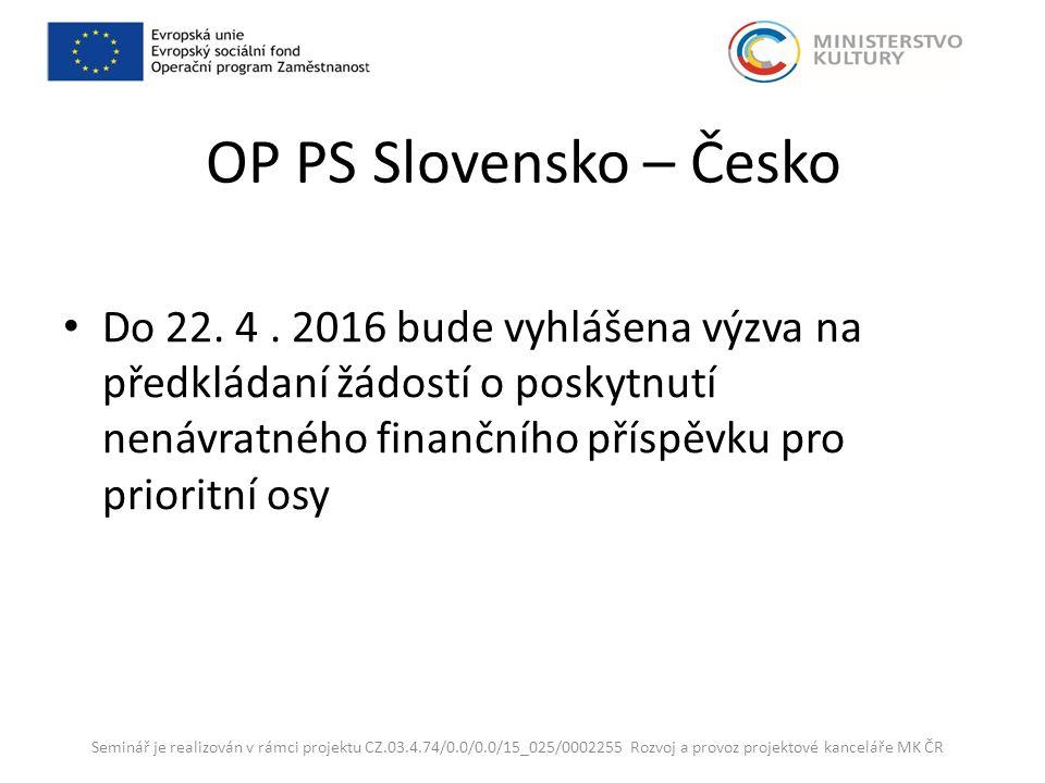 OP PS Slovensko – Česko Do 22. 4.