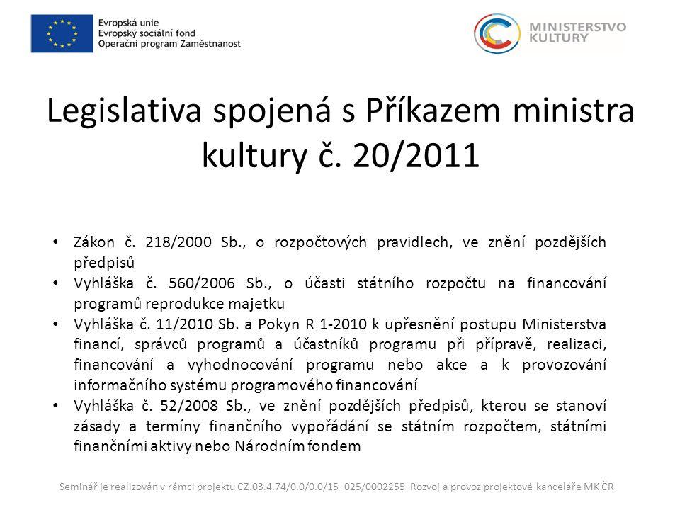 Legislativa spojená s Příkazem ministra kultury č.