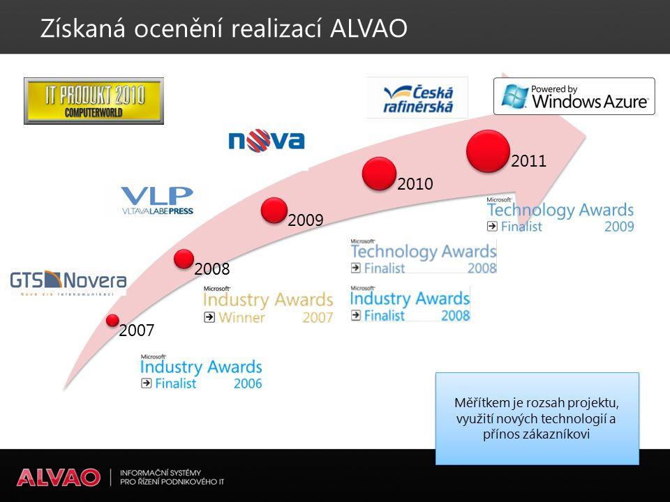 2007 2008 2009 2010 2011 Získaná ocenění realizací ALVAO Měřítkem je rozsah projektu, využití nových technologií a přínos zákazníkovi