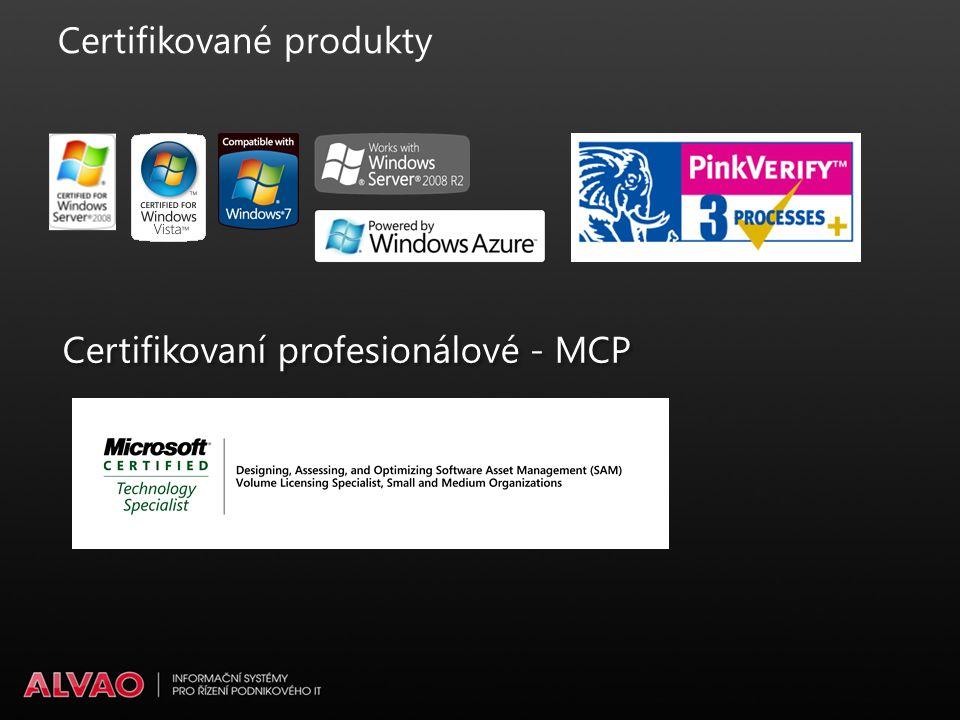 Certifikované produkty Certifikovaní profesionálové - MCP