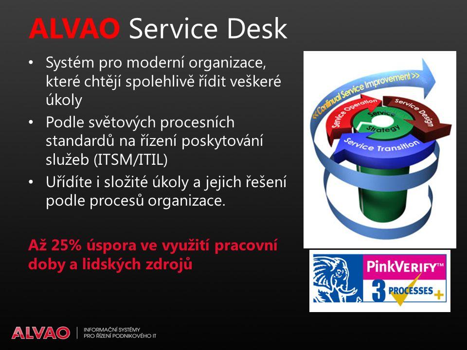 ALVAO Service Desk Systém pro moderní organizace, které chtějí spolehlivě řídit veškeré úkoly Podle světových procesních standardů na řízení poskytování služeb (ITSM/ITIL) Uřídíte i složité úkoly a jejich řešení podle procesů organizace.