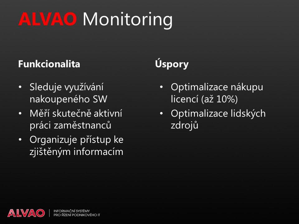 ALVAO Monitoring Optimalizace nákupu licencí (až 10%) Optimalizace lidských zdrojů Úspory Sleduje využívání nakoupeného SW Měří skutečně aktivní práci zaměstnanců Organizuje přístup ke zjištěným informacím Funkcionalita