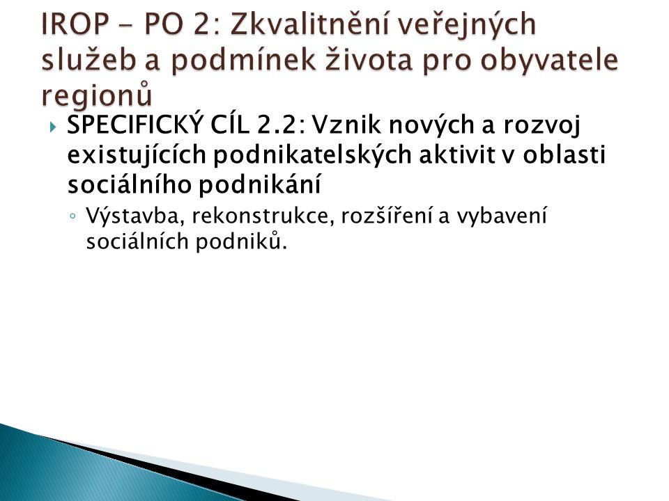  SPECIFICKÝ CÍL 2.2: Vznik nových a rozvoj existujících podnikatelských aktivit v oblasti sociálního podnikání ◦ Výstavba, rekonstrukce, rozšíření a vybavení sociálních podniků.