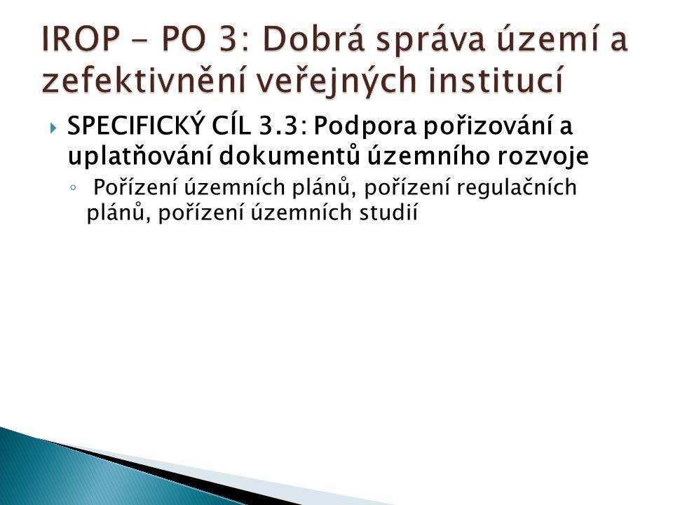  SPECIFICKÝ CÍL 3.3: Podpora pořizování a uplatňování dokumentů územního rozvoje ◦ Pořízení územních plánů, pořízení regulačních plánů, pořízení územ