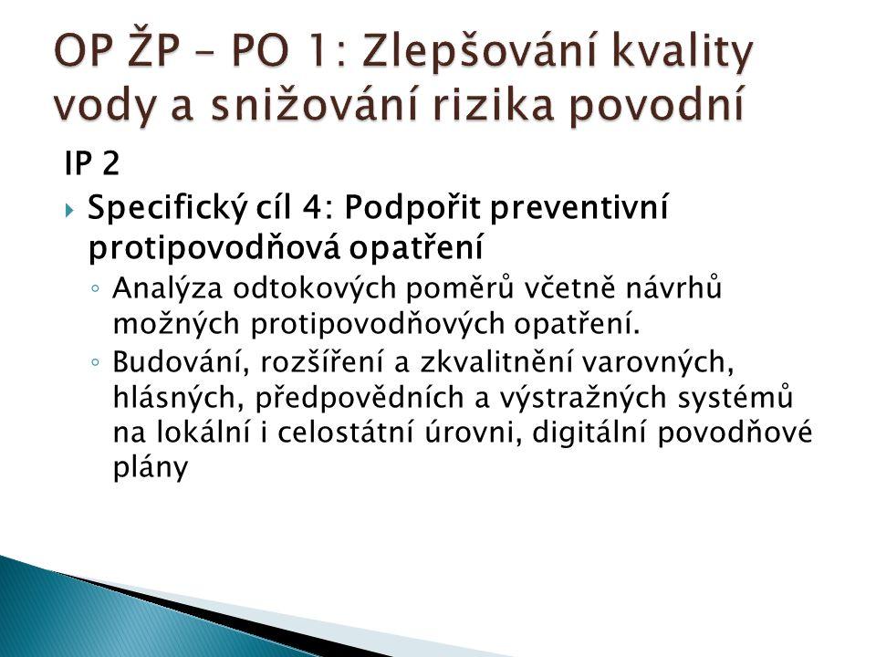 IP 2  Specifický cíl 4: Podpořit preventivní protipovodňová opatření ◦ Analýza odtokových poměrů včetně návrhů možných protipovodňových opatření. ◦ B