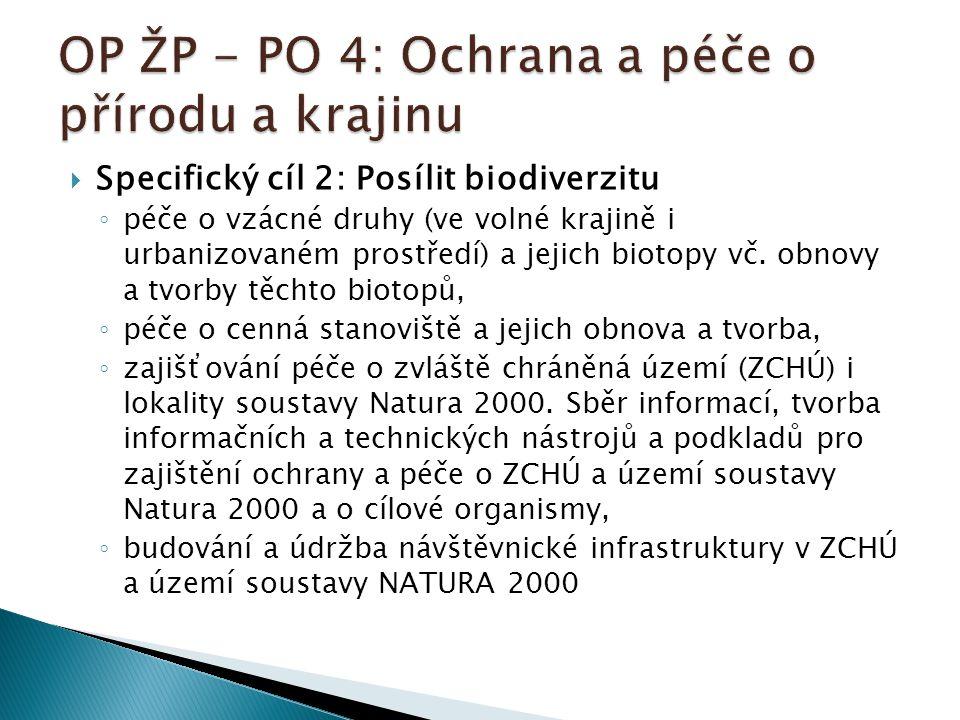  Specifický cíl 2: Posílit biodiverzitu ◦ péče o vzácné druhy (ve volné krajině i urbanizovaném prostředí) a jejich biotopy vč.