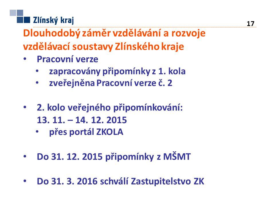 Dlouhodobý záměr vzdělávání a rozvoje vzdělávací soustavy Zlínského kraje Pracovní verze zapracovány připomínky z 1.