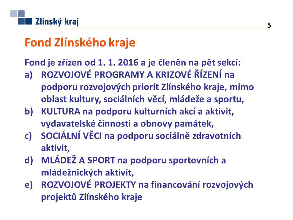 Fond Zlínského kraje Fond je zřízen od 1. 1.