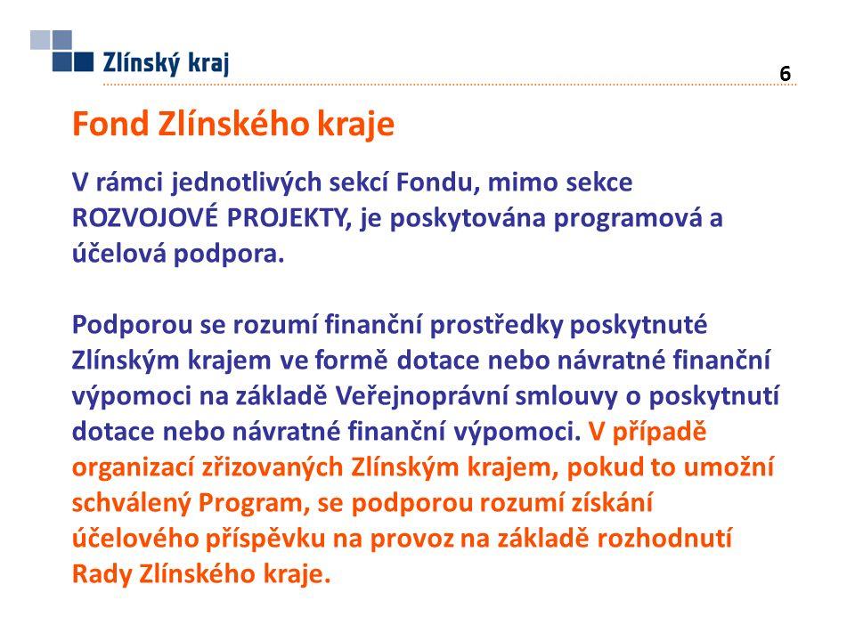 Fond Zlínského kraje V rámci jednotlivých sekcí Fondu, mimo sekce ROZVOJOVÉ PROJEKTY, je poskytována programová a účelová podpora.