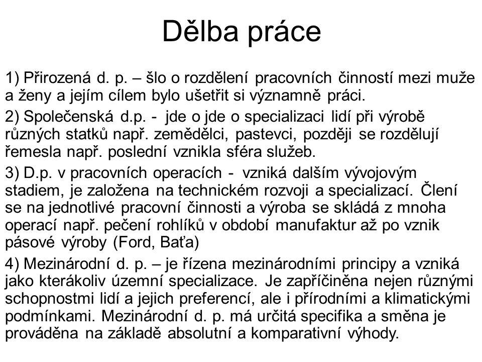 Dělba práce 1) Přirozená d. p.