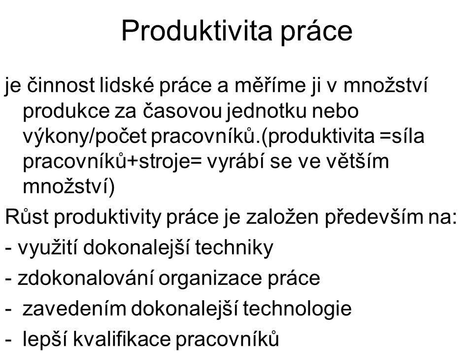 je činnost lidské práce a měříme ji v množství produkce za časovou jednotku nebo výkony/počet pracovníků.(produktivita =síla pracovníků+stroje= vyrábí se ve větším množství) Růst produktivity práce je založen především na: - využití dokonalejší techniky - zdokonalování organizace práce -zavedením dokonalejší technologie -lepší kvalifikace pracovníků Produktivita práce