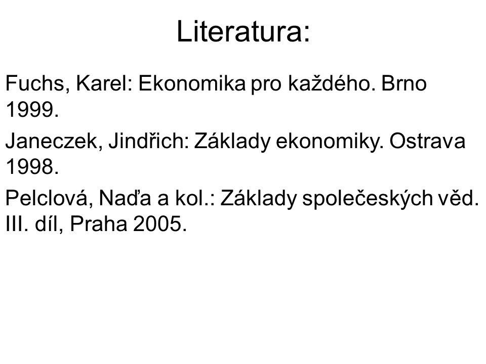 Literatura: Fuchs, Karel: Ekonomika pro každého. Brno 1999.