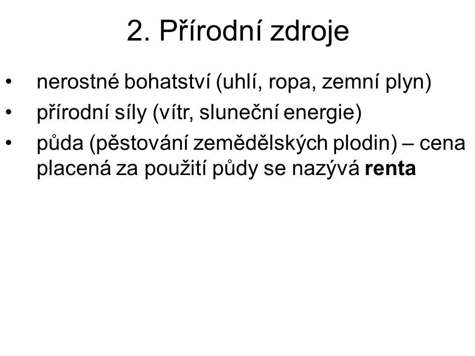 2. Přírodní zdroje nerostné bohatství (uhlí, ropa, zemní plyn) přírodní síly (vítr, sluneční energie) půda (pěstování zemědělských plodin) – cena plac