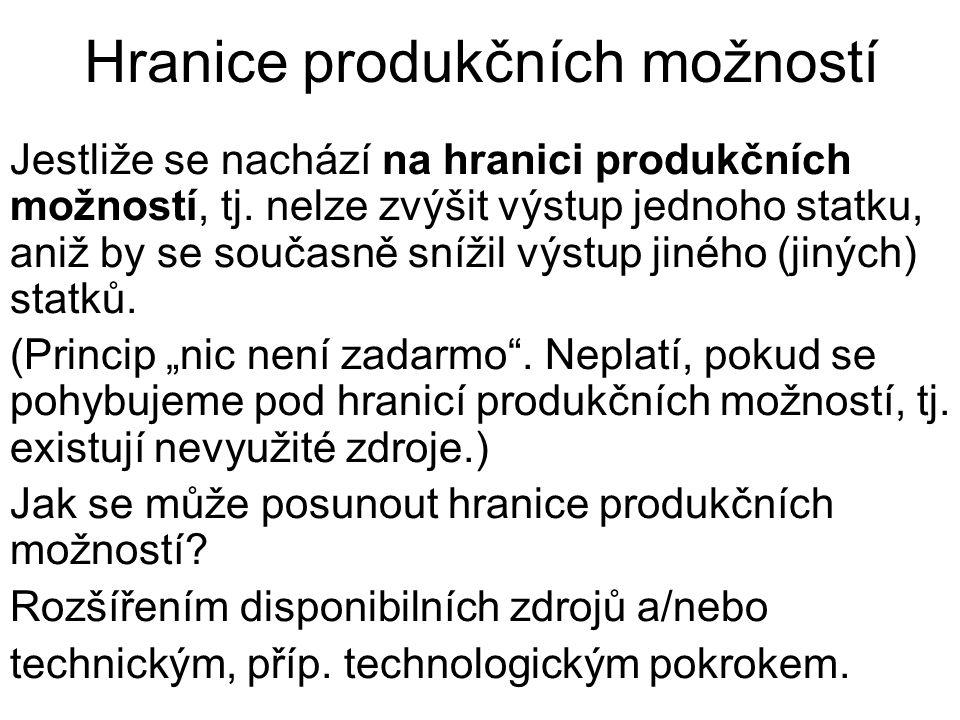 Hranice produkčních možností Jestliže se nachází na hranici produkčních možností, tj.