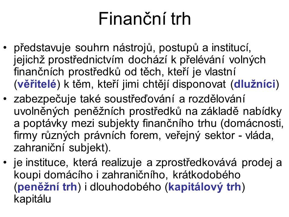 Finanční trh představuje souhrn nástrojů, postupů a institucí, jejichž prostřednictvím dochází k přelévání volných finančních prostředků od těch, kteří je vlastní (věřitelé) k těm, kteří jimi chtějí disponovat (dlužníci) zabezpečuje také soustřeďování a rozdělování uvolněných peněžních prostředků na základě nabídky a poptávky mezi subjekty finančního trhu (domácnosti, firmy různých právních forem, veřejný sektor - vláda, zahraniční subjekt).
