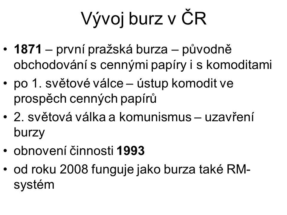 Vývoj burz v ČR 1871 – první pražská burza – původně obchodování s cennými papíry i s komoditami po 1.