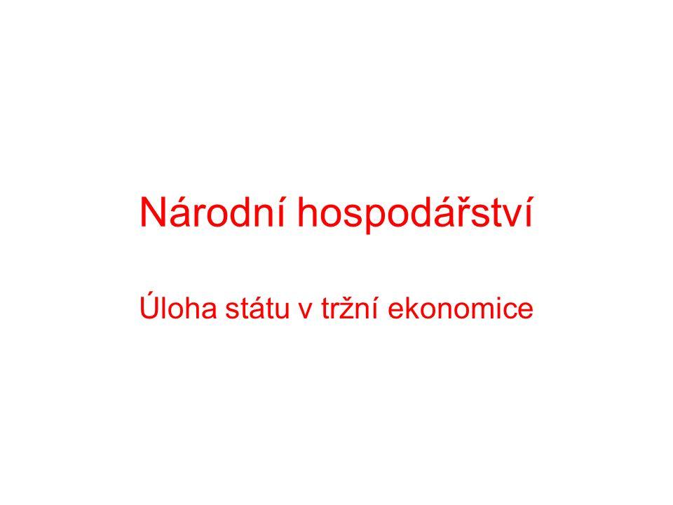 Národní hospodářství Úloha státu v tržní ekonomice