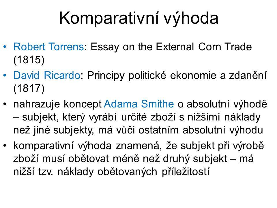 Komparativní výhoda Robert Torrens: Essay on the External Corn Trade (1815) David Ricardo: Principy politické ekonomie a zdanění (1817) nahrazuje koncept Adama Smithe o absolutní výhodě – subjekt, který vyrábí určité zboží s nižšími náklady než jiné subjekty, má vůči ostatním absolutní výhodu komparativní výhoda znamená, že subjekt při výrobě zboží musí obětovat méně než druhý subjekt – má nižší tzv.