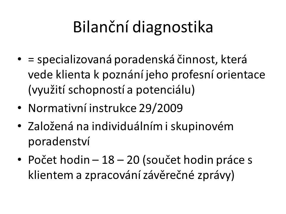 Bilanční diagnostika = specializovaná poradenská činnost, která vede klienta k poznání jeho profesní orientace (využití schopností a potenciálu) Norma