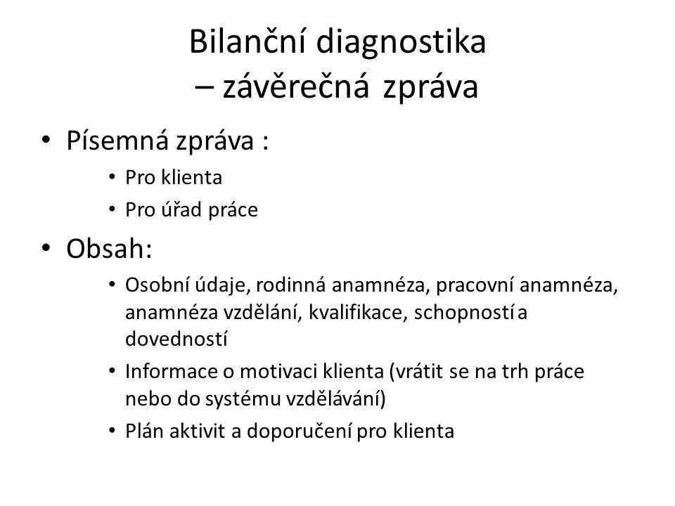 Bilanční diagnostika – závěrečná zpráva Písemná zpráva : Pro klienta Pro úřad práce Obsah: Osobní údaje, rodinná anamnéza, pracovní anamnéza, anamnéza