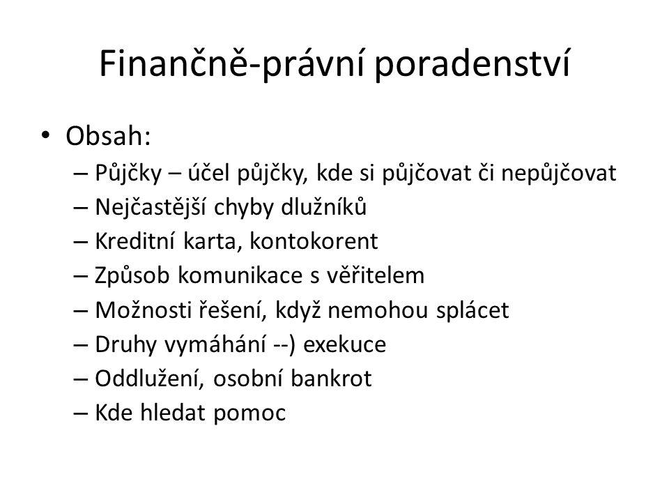Finančně-právní poradenství Obsah: – Půjčky – účel půjčky, kde si půjčovat či nepůjčovat – Nejčastější chyby dlužníků – Kreditní karta, kontokorent –