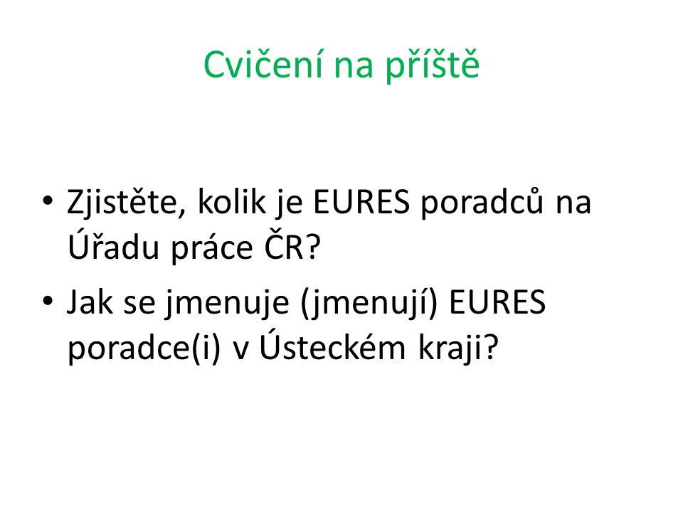 Cvičení na příště Zjistěte, kolik je EURES poradců na Úřadu práce ČR? Jak se jmenuje (jmenují) EURES poradce(i) v Ústeckém kraji?