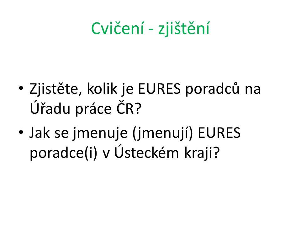 Cvičení - zjištění Zjistěte, kolik je EURES poradců na Úřadu práce ČR? Jak se jmenuje (jmenují) EURES poradce(i) v Ústeckém kraji?