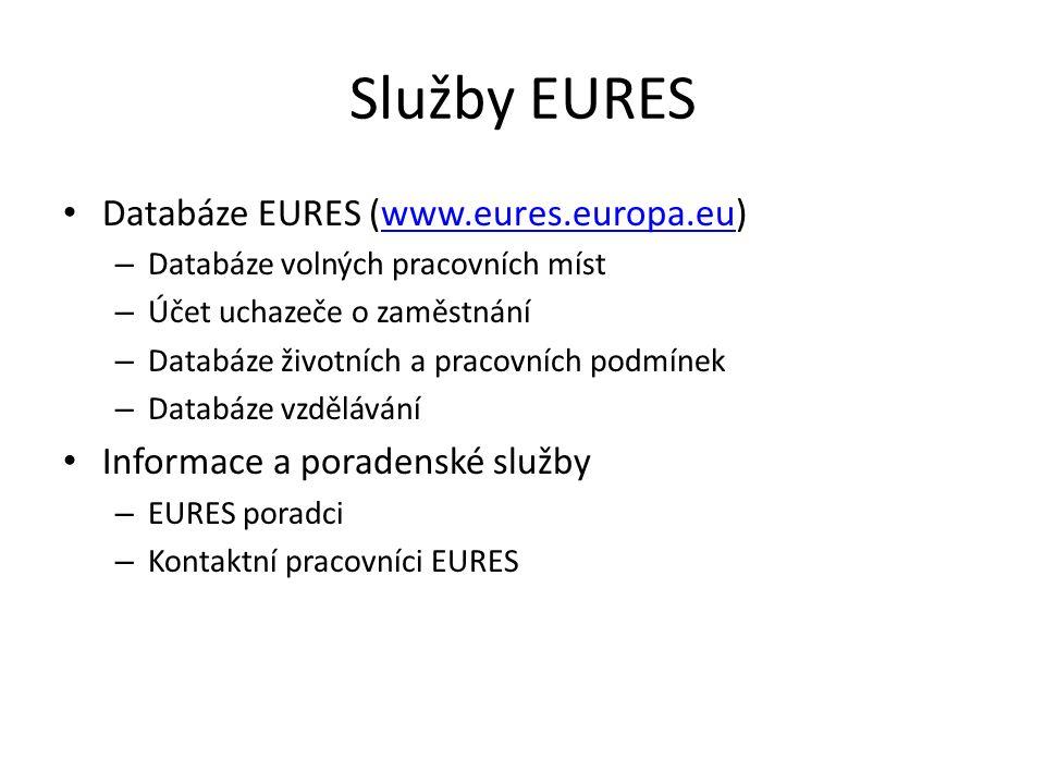 Služby EURES Databáze EURES (www.eures.europa.eu)www.eures.europa.eu – Databáze volných pracovních míst – Účet uchazeče o zaměstnání – Databáze životn