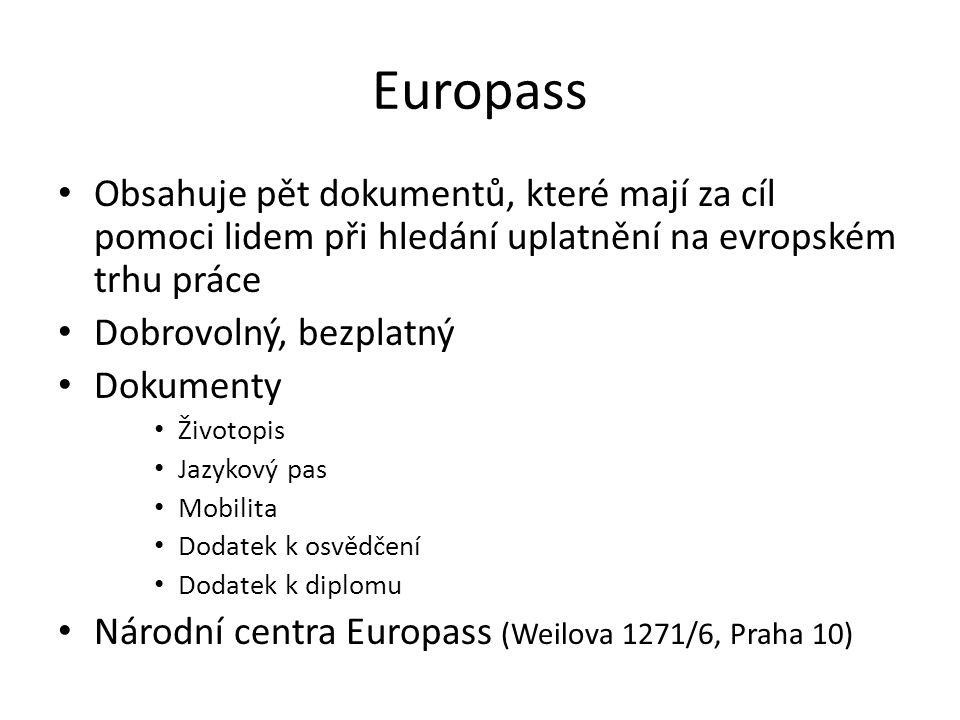 Europass Obsahuje pět dokumentů, které mají za cíl pomoci lidem při hledání uplatnění na evropském trhu práce Dobrovolný, bezplatný Dokumenty Životopi