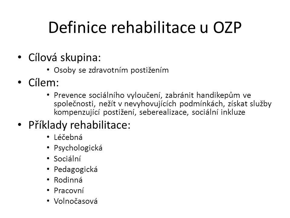 Definice rehabilitace u OZP Cílová skupina: Osoby se zdravotním postižením Cílem: Prevence sociálního vyloučení, zabránit handikepům ve společnosti, n