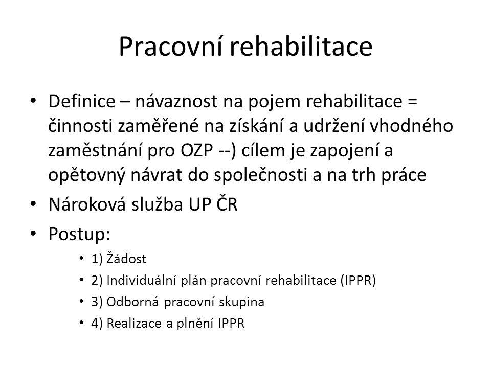 Pracovní rehabilitace Definice – návaznost na pojem rehabilitace = činnosti zaměřené na získání a udržení vhodného zaměstnání pro OZP --) cílem je zap