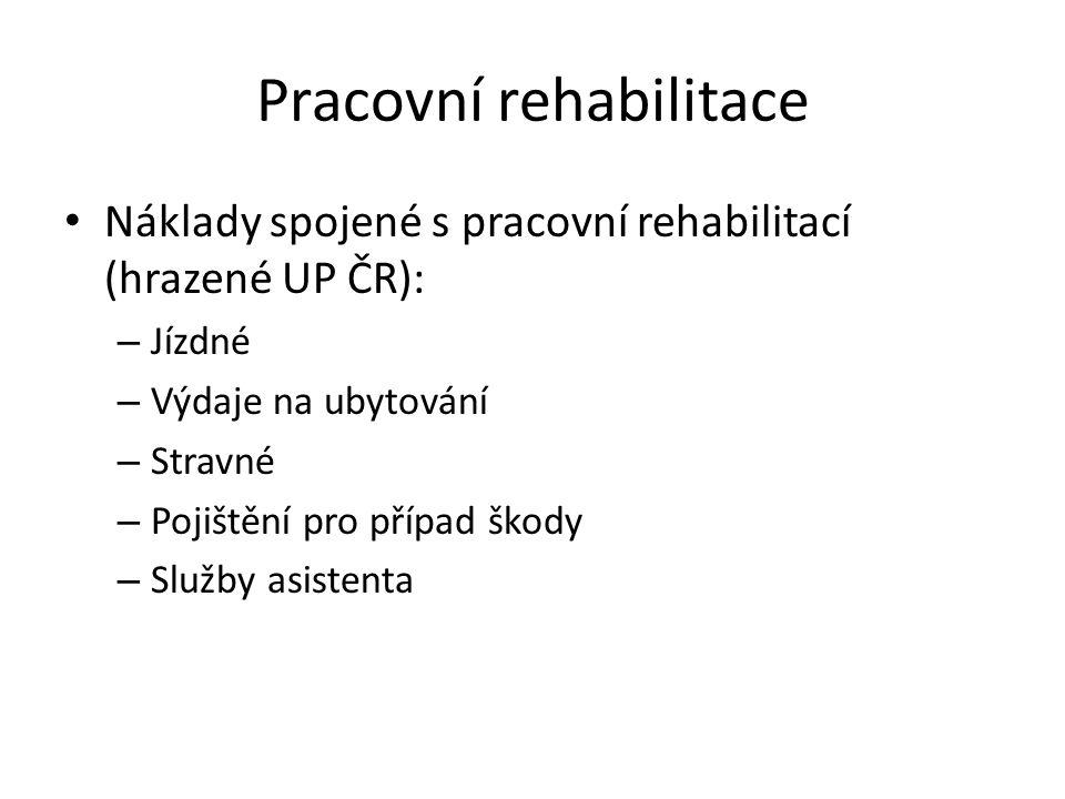 Pracovní rehabilitace Náklady spojené s pracovní rehabilitací (hrazené UP ČR): – Jízdné – Výdaje na ubytování – Stravné – Pojištění pro případ škody –
