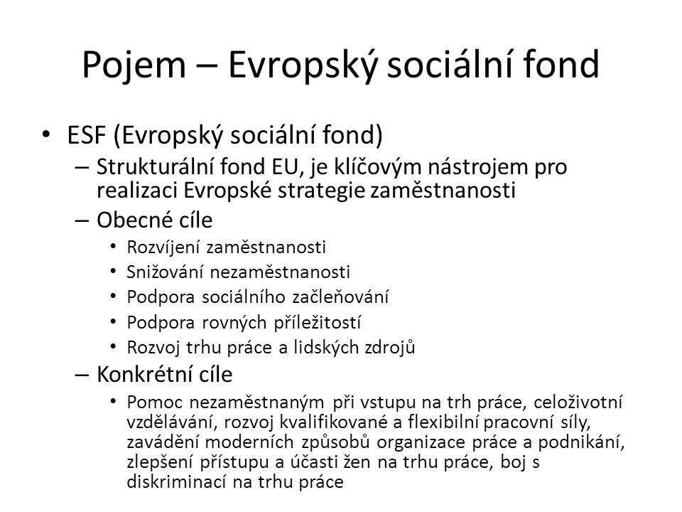 Pojem – Evropský sociální fond ESF (Evropský sociální fond) – Strukturální fond EU, je klíčovým nástrojem pro realizaci Evropské strategie zaměstnanos