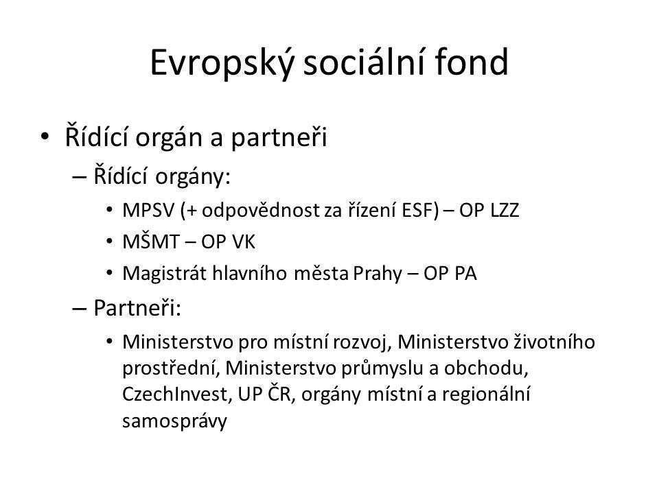Evropský sociální fond Řídící orgán a partneři – Řídící orgány: MPSV (+ odpovědnost za řízení ESF) – OP LZZ MŠMT – OP VK Magistrát hlavního města Prah