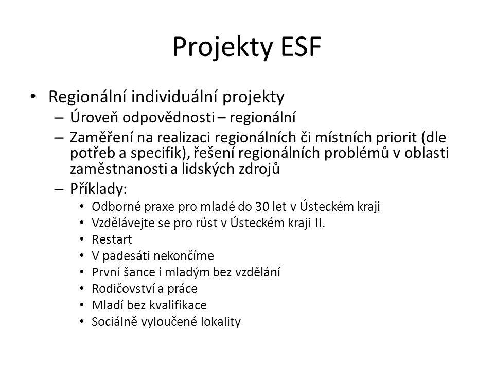 Projekty ESF Regionální individuální projekty – Úroveň odpovědnosti – regionální – Zaměření na realizaci regionálních či místních priorit (dle potřeb