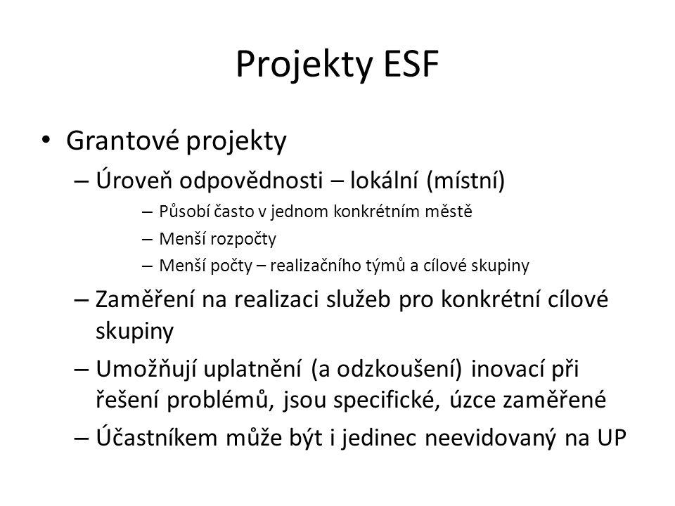 Projekty ESF Grantové projekty – Úroveň odpovědnosti – lokální (místní) – Působí často v jednom konkrétním městě – Menší rozpočty – Menší počty – real