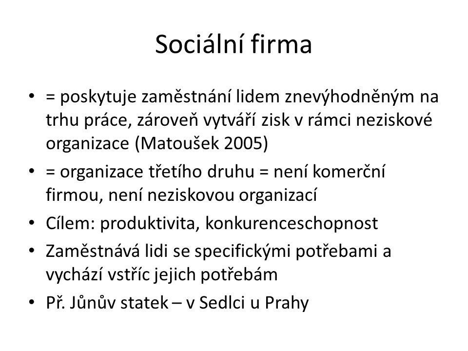 Sociální firma = poskytuje zaměstnání lidem znevýhodněným na trhu práce, zároveň vytváří zisk v rámci neziskové organizace (Matoušek 2005) = organizac